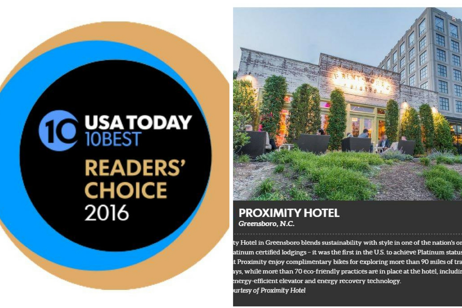 Top 10 Eco Hotels in US, USAToday, Proximity Hotel