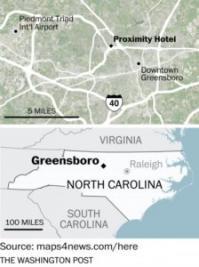 Map of North Carolina and Greensboro