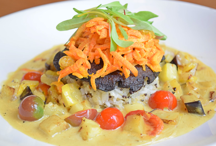 Grilled Portabello Mushroom, coconut-curry eggplant, tomato, squash, curried carrot slaw, coconut-jasmine grain blend